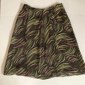 JONES NEW YORK 100% Silk side zip faux wrap skirt